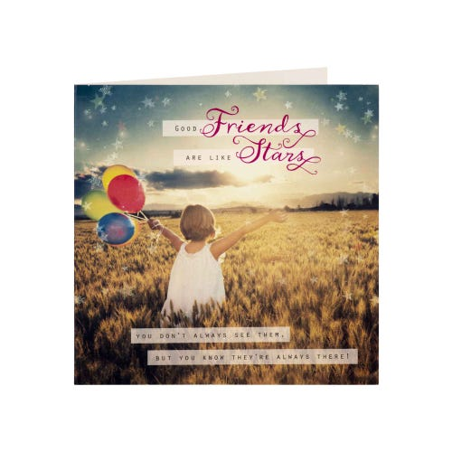Girl With Balloons Friend Blank Card