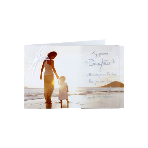 Photographic Woman And Child On Beach Daughter Birthday Card