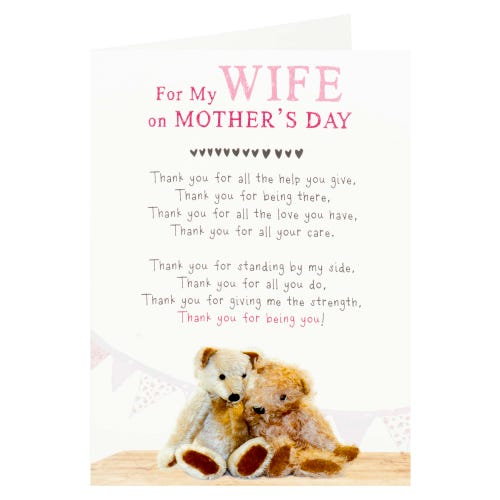Snuggled Teddies Wife Mother's Day Card