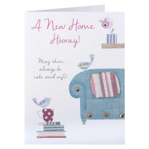 Sofa And Birds New Home Card