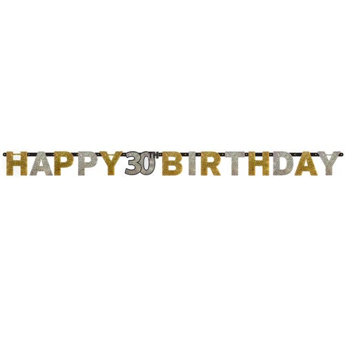 Gold Sparkling Celebration 30th Happy Birthday Prismatic Letter Banner