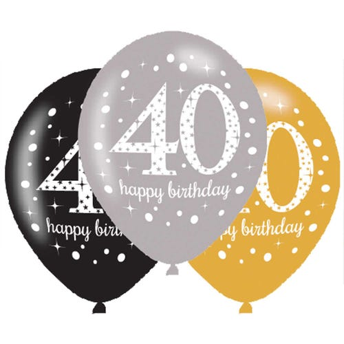Gold,Silver & Black Sparkling Celebration Happy 40th Birthday Latex Balloons  - 6 Pack