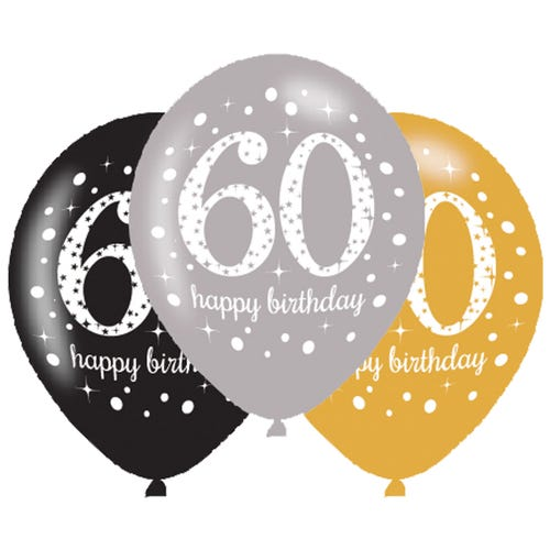 Gold,Silver & Black Sparkling Celebration Happy 60th Birthday Latex Balloons  - 6 Pack