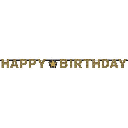 Gold Sparkling Celebration Prismatic Letter Banner