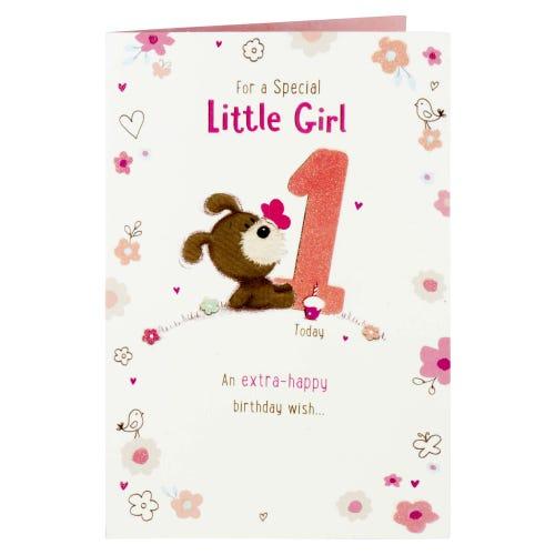 Woof Special Girl 1st Birthday Card