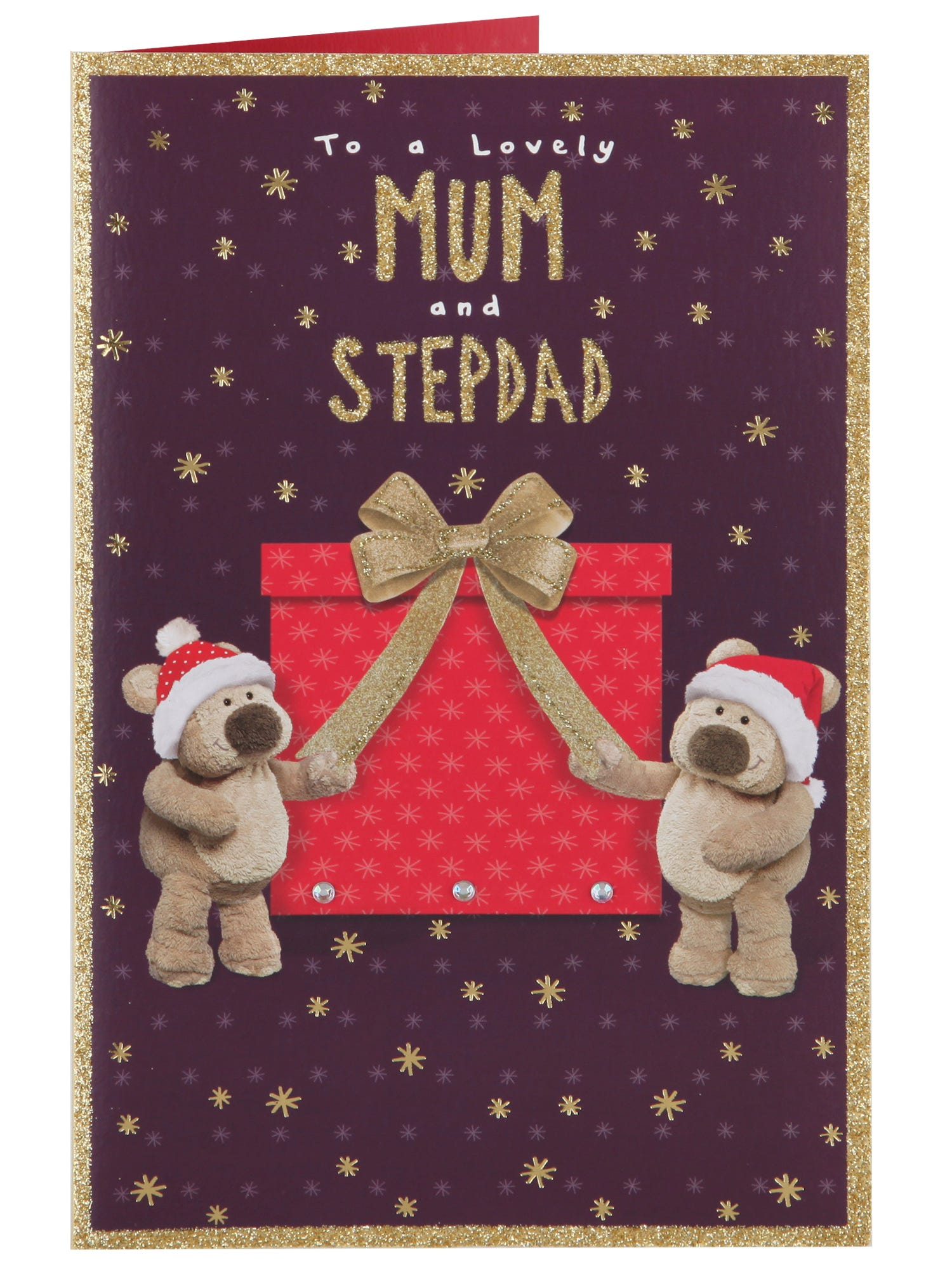 mum stepdad tedmund ted big red present christmas card