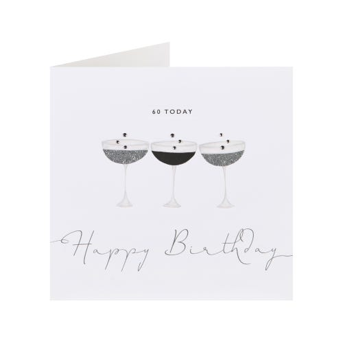 60 Today Champagne Glasses Birthday Card