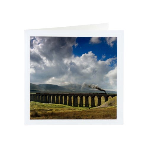 Steam Train Over The Viaduct Blank Card