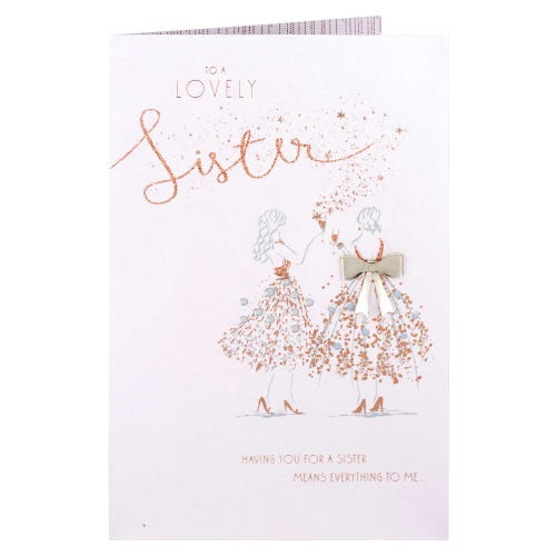 Collection Sister Gold Bow Luxury Birthday Card