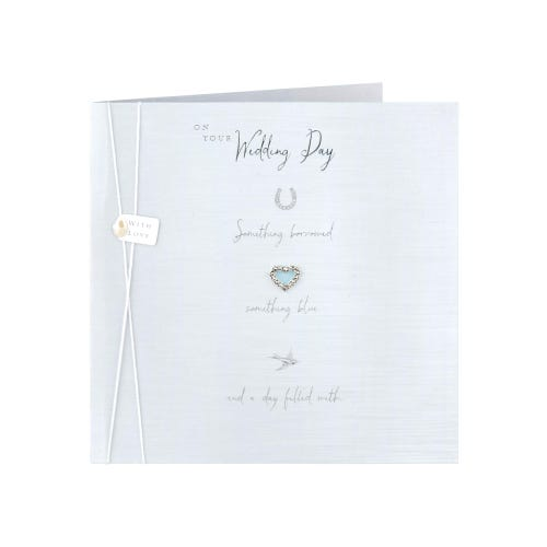 Diamonte Heart Charm Wedding card