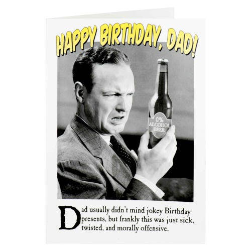 Dad 0% Alcohol Birthday Card