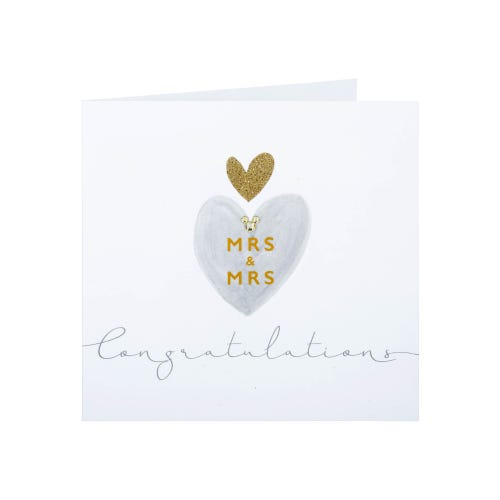 Gold Gems Mrs & Mrs Congratulations Cards