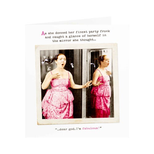 Lady In Pink Dress Humorous Birthday Card