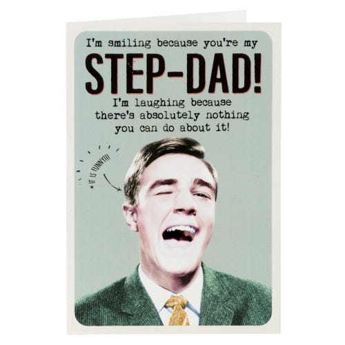 Smiling Man Step-Dad Humour Father's Day Card