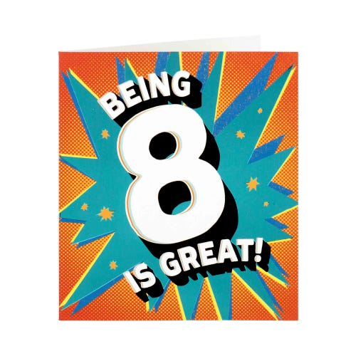 8 Is Great! Birthday Card