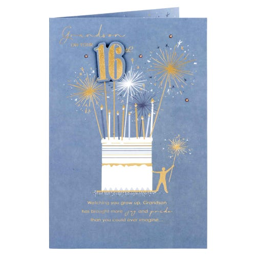 Collection Grandson 16Th Sparklers Birthday Card