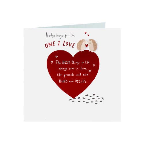 Hedgehog With Heart One I Love Birthday Card