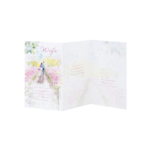 Romantical Stroll Wife Anniversary Card