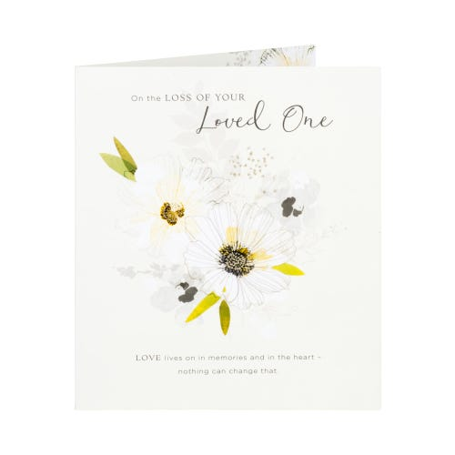 White Flowers With Glitter Loss Of Your Loved One Card