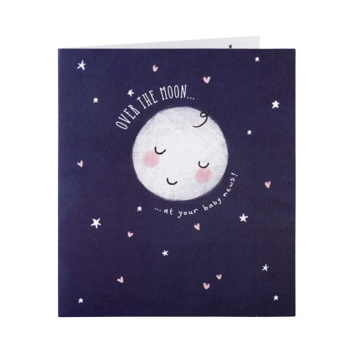 Over The Moon Baby Congrats Card