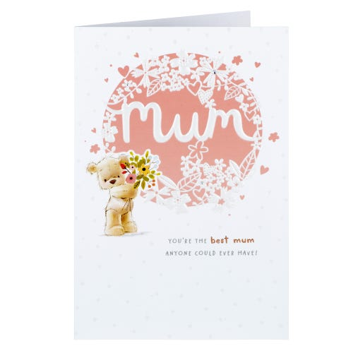 Bear Holding Flowers Mum Birthday Card