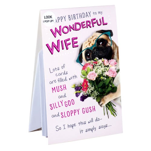 Pug Pop Out Wonderful Wife Birthday Card