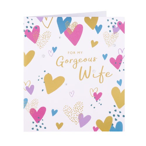 Heart Pattern Gorgeous Wife Birthday Card