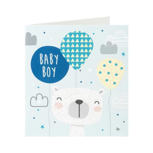 Bear & Balloons Baby Boy Card