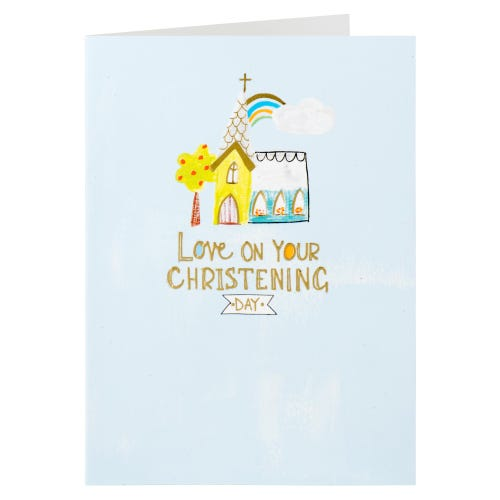 Church Drawing Blue Christening Day Card