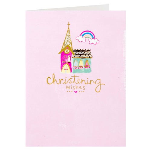 Church Drawing Pink Christening Wishes Card