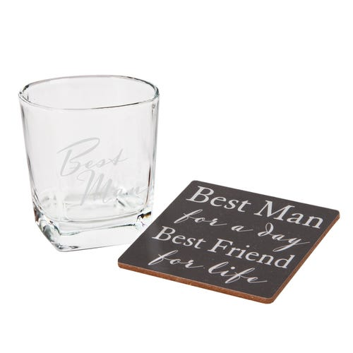 Best Man Whisky Glass & Coaster Set