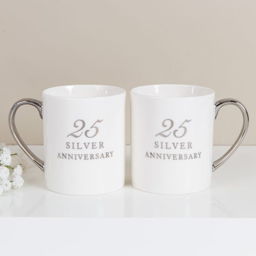 25th Anniversary Set Of Two Bone China Mugs