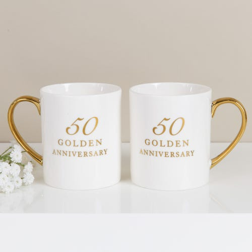 50th Anniversary Set Of Two Bone China Mugs