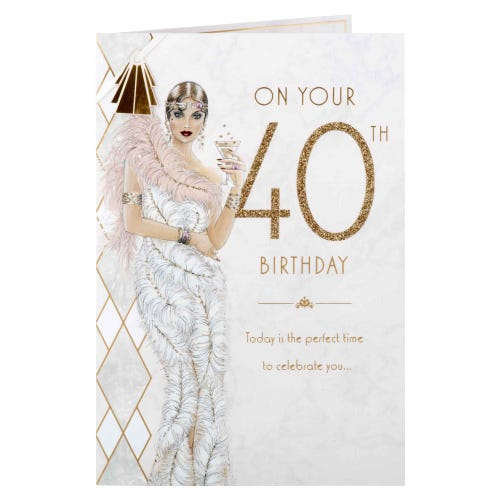 Deco Cocktail Girl 40th Birthday Card