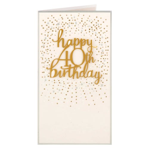 Rose Gold Gems 40th Birthday Card