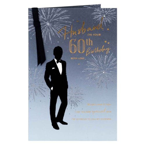 Man In Suit Silhouette 60th Husband Birthday Card
