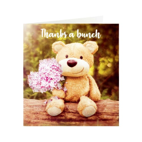Teddy Bear Holding Flowers Thank You Card