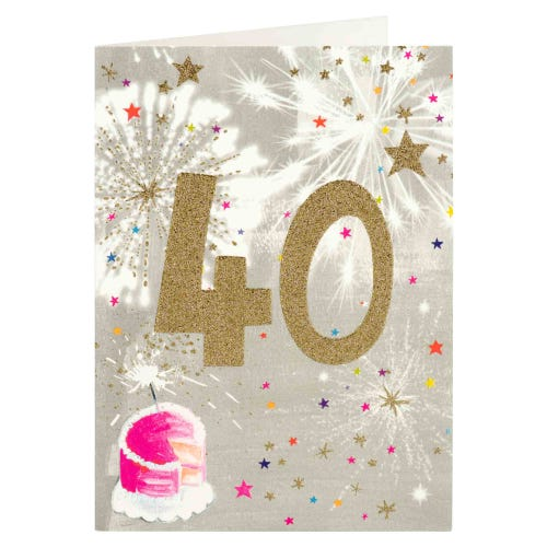 Paper Salad 40th Sparklers Glitter Effect Birthday Card