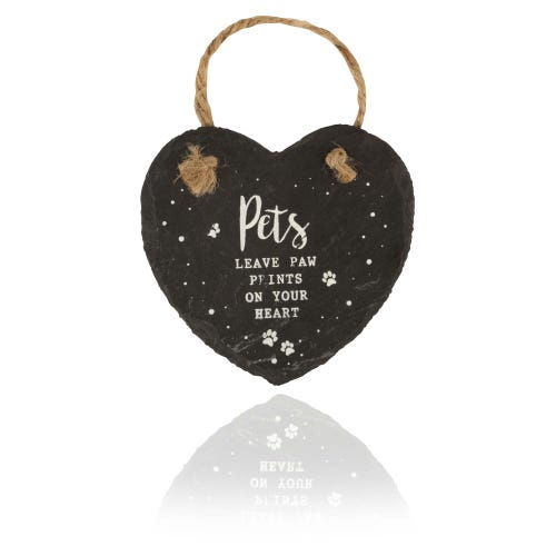 Pets Small Heart Slate Plaque