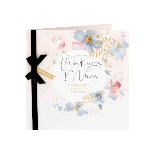 Thank You Mum Flower Design Wedding Card