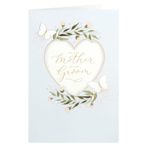 Mother Of The Groom Heart & Butterflies Wedding Card