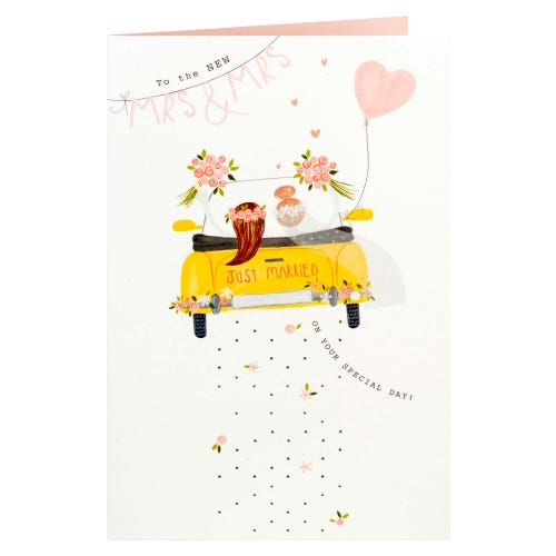 Mrs & Mrs Couple In Car Wedding Card