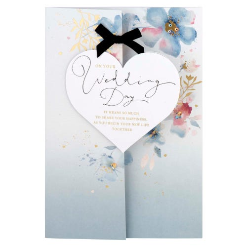 Floral Watercolour With Gold Effect Wedding Card