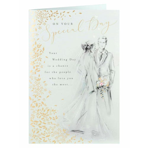 Sketched Couple With Gold Foliage Wedding Card