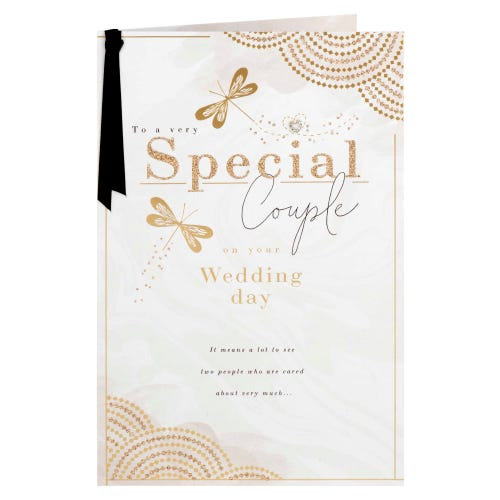 Special Couple Butterflies With Gold Effect Wedding Card