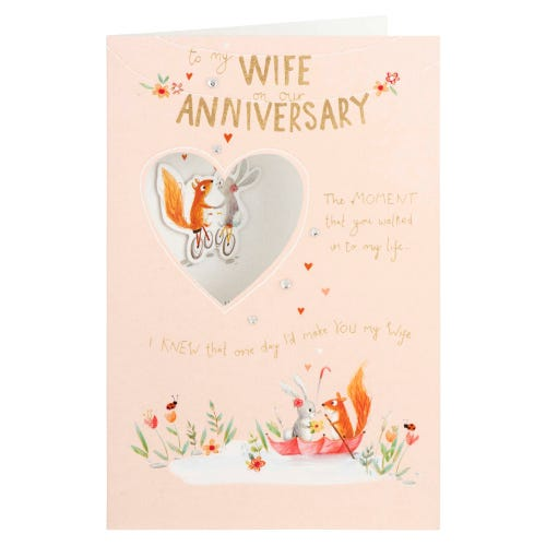 Squirrel & Rabbit Couple Wife Anniversary Card