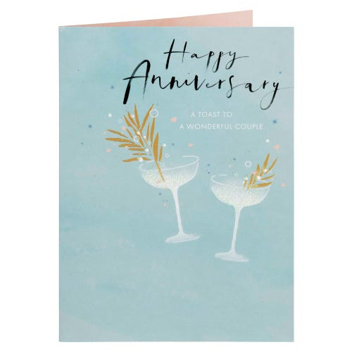 Champagne Glasses With Gold Leaf Anniversary Card