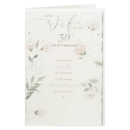 Watercolour Foliage Wife 30th Anniversary Card