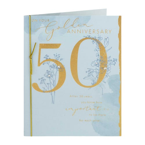 Golden 50 With Delicate Flower Design Anniversary Card