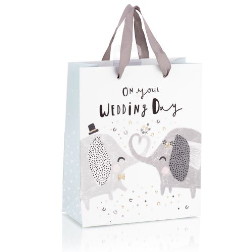 Cute Elephants With Glitter Effect Medium Wedding Gift Bag